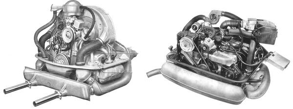 Balra egy Typ1, jobbra egy Typ4 motor