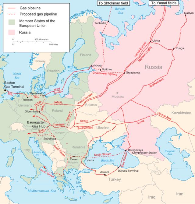 Magyarországra a Testvériség (Brotherhood) vezeték egy leágazásán érkezik a felhasznált gáz túlnyomó része, jól látszik a térképen, miért tenné könnyebbé a helyzetet, ha a szaggatott vonallal jelölt Déli Áramlat (South Stream) is megépülne.
