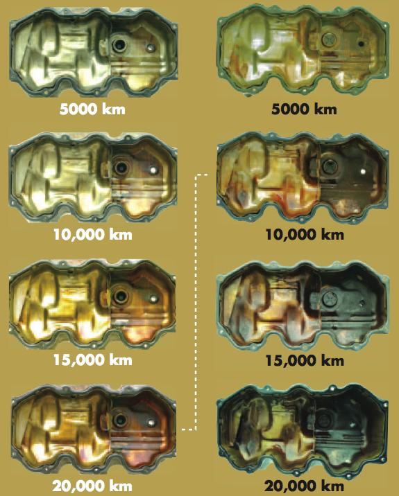 azonos körülmények között tesztelt motor dugattyúja és olajteknője Eneos Sustinával és más API SM minősítésű olajjal
