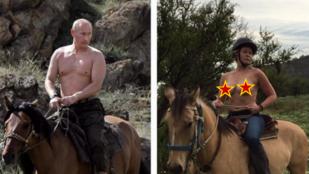 Chelsea Handler csupasz mellekkel lovagolt, mint Putyin