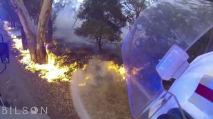 Sisakkamerával rögzítette a tűzoltó a félelmetes erdőtüzet