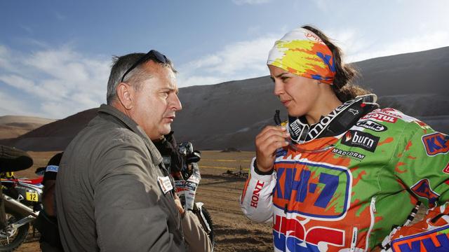 Laia Sanz (Honda) a legjobb női versenyző a 2015-ös Dakaron. A 14. helyen áll