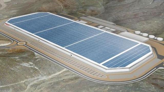 A napelemekkel borított Gigafactory látványterve
