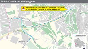 Újabb lezárt sáv nehezíti meg a Budaörs irányába közlekedők életét