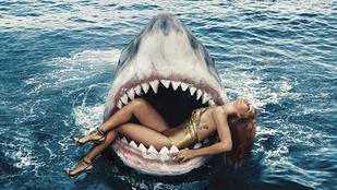 Rihanna egy cápa szájában fetreng