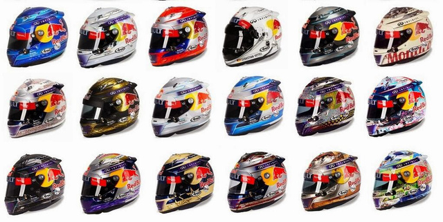 Vettel összes 2013-as sisakja