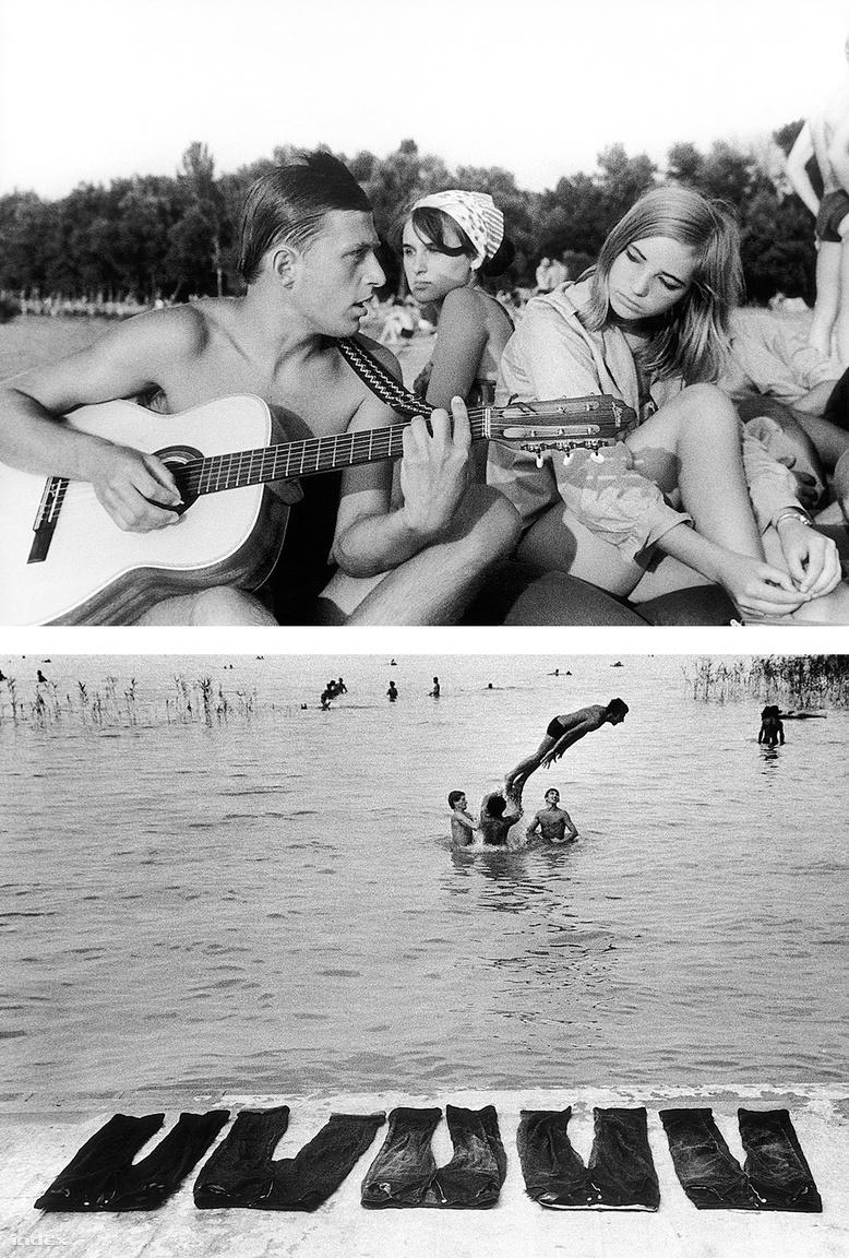 """Életérzés. 1964 nyarán Szalay egy újságíróval két napot kempingezett a Balatonnál, hogy riportot készítsenek az ott nyaraló fiatalokról. """"Akkoriban még a farmernadrág, pláne a koptatott… hát el lehet képzelni!"""""""