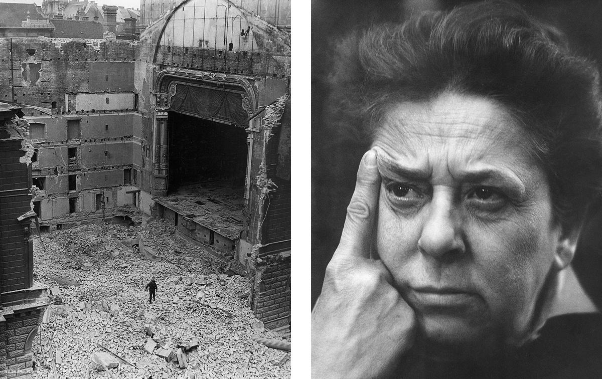 """A Nemzeti Színház 1908-tól 1964-ig működött a Blaha Lujza téren, lebontása ellen pedig hiába tiltakoztak többen is, végül a metróépítési láz győzött. A Kossuth-díjas Gobbi Hilda szintén a tiltakozók közé tartozott, és az épület egyes elemeit megpróbálta megmenekíteni, méghozzá úgy, hogy az akkor épülő visegrádi nyaralójába építettette be őket. Így került a Nemzeti Színház első emeleti erkélyének oszlopsora és párkányzata a színésznő víkendházába, valamint az egykori igazgatói szoba ajtaja a Gobbi-nyaraló klozetjére. """"Csodálatos ember volt"""" – teszi hozzá a fotós, aki haláláig jó viszonyt ápolt Gobbi Hildával."""