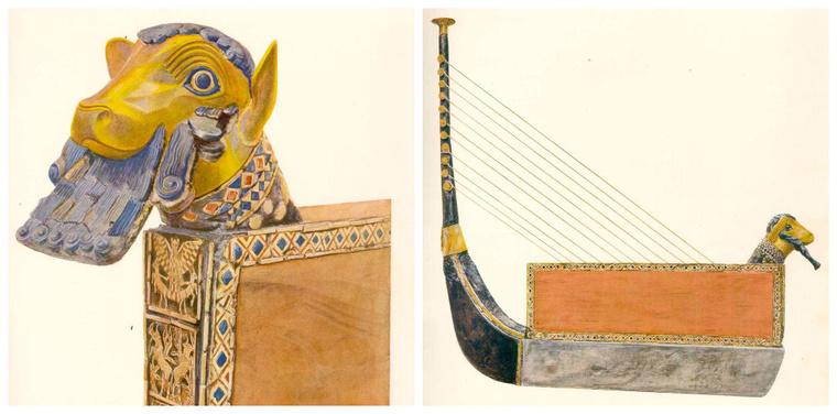 A Királynői líra első rekonstrukciója még ívhárfaként
