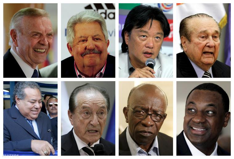 A vád alá helyezett tisztségviselők (felső sor, balról jobbra): José Maria Marin, Rafael Esquivel, Eduardo Li, Nicolas Leoz (alsó sor, balról jobbra) Julio Rocha, Eugenio Figueredo, Jack Warner, Jeffrey Webb.