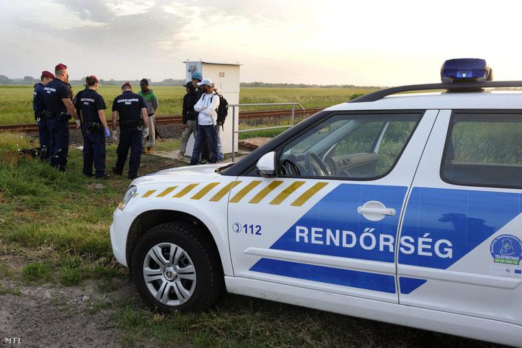 Afrikai országokból származó menekülteket tartóztatnak föl rendőrök Röszke külterületén 2015. május 21-én.