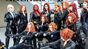 Dögös Fekete Özvegynek öltözött nők követelik, hogy Scarlett Johansson saját filmet kapjon