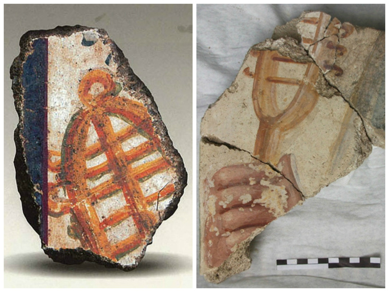 Sistrum ábrázolások az Iseum területén előkerült falfreskó töredékeken