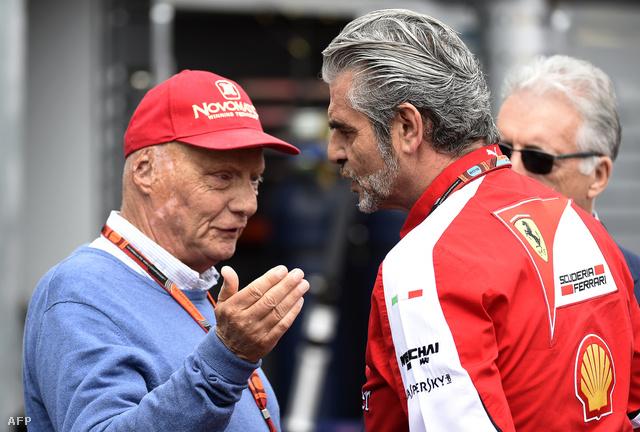 Lauda a Ferrari-csaparfőnök Maurizio Arrivabenével
