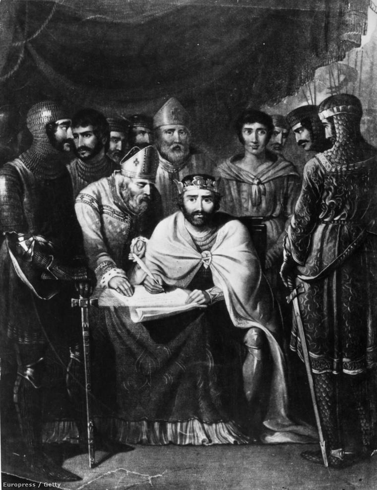 János király aTemze partján fekvő Runnymede-nél aláírja a Magna Chartát, 1215-ben