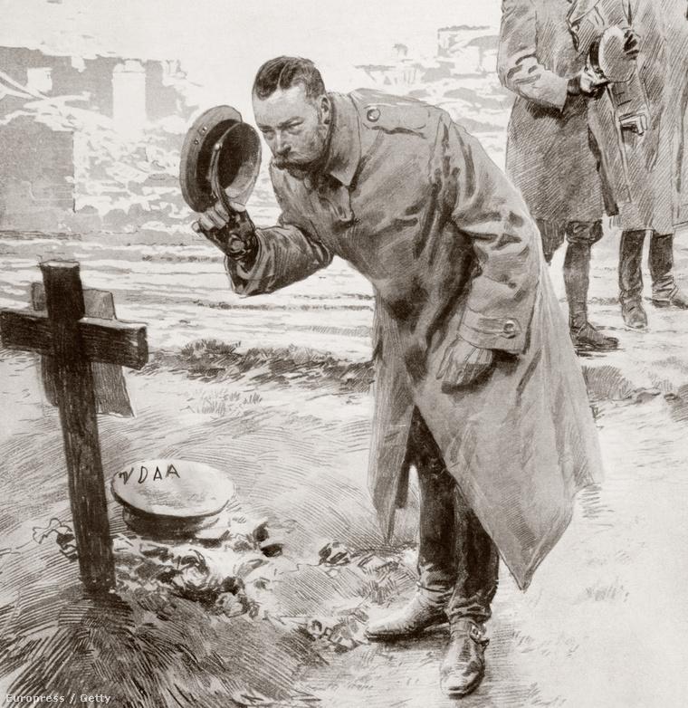 A korabeli illusztráción V. György tiszteleg egy ismeretlen katona sírjánál
