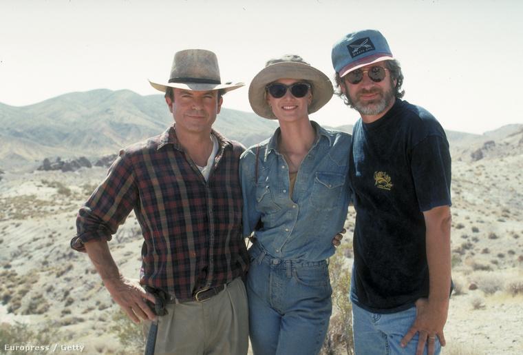 Sam Neill, Laura Dern és Steven Spielberg