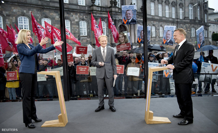 Helle Thorning-Schmidt és az ellenzéki Lars Lokke Rasmussen televíziós vitája a kampányban.