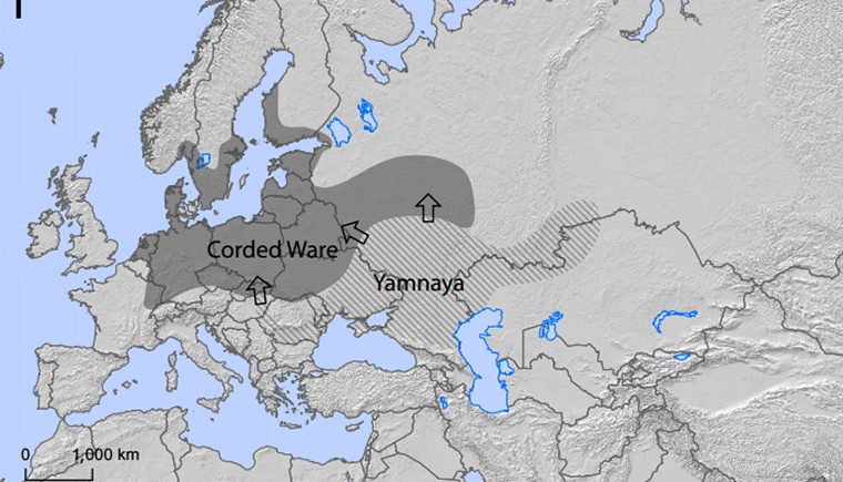A gödörsíros kurgánok népe (jamnaják) feltételezett vándorlása a zsinórdíszes kerámia kultúrája felé