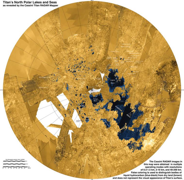 A Titán tavainak elhelyezkedése az északi sarkköre mentén