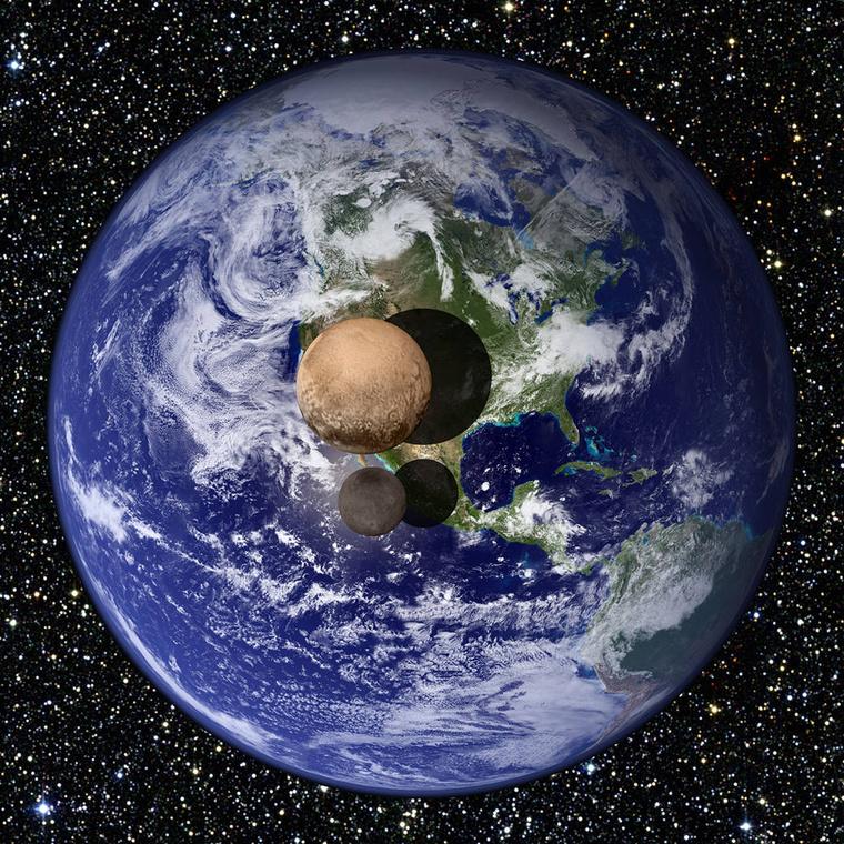 A Plútó és a Charon méretei a Földhöz viszonyítva