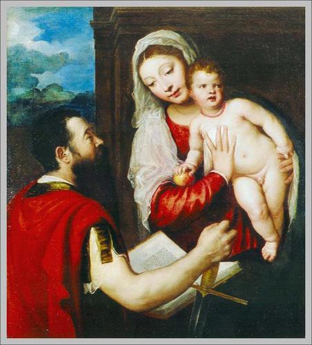 Tiziano Vecellio (1488-1576) Mária gyermekével és Szent Pállal