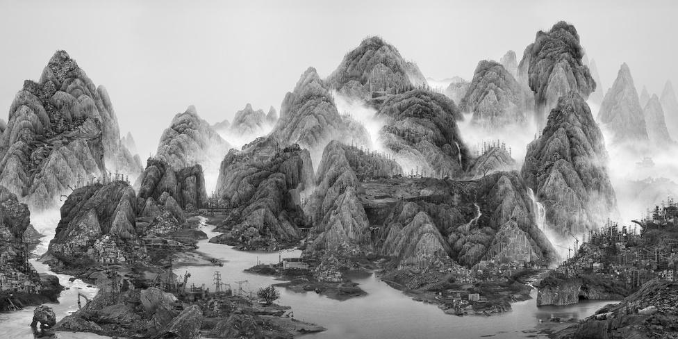 Hongkong, Taipei, Sanghai és kínai tájak elemeiből összeállított mesterséges táj.