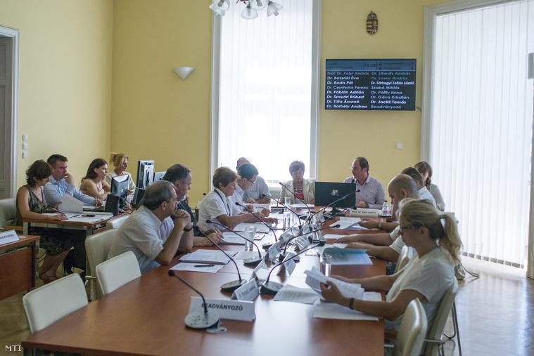 Pálffy Ilona az NVI vezetője (középen b) és Patyi András a Nemzeti Választási Bizottság (NVB) elnöke (középen j) a testület ülésén a Nemzeti Választási Irodában (NVI) 2015. július 20-án.