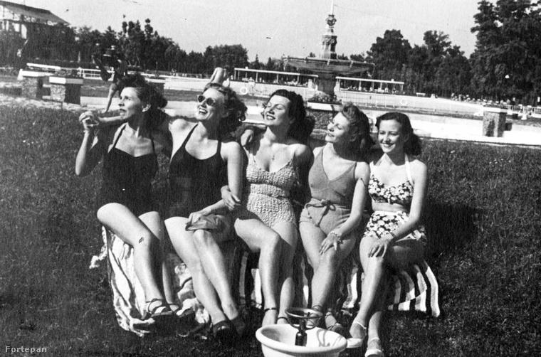 Színésznők a strandon, 1940-ben (Nagykovácsi Ilona, Simor Erzsi, Somló Vali, Egry Mária, Lengyel Irén)