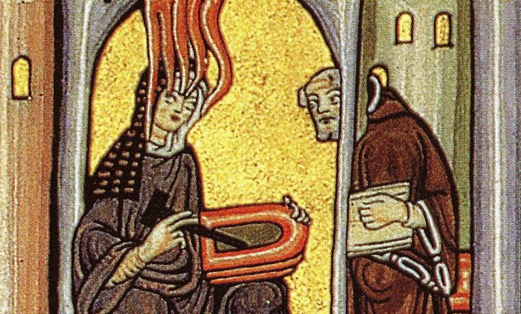 Hildegard von Bingen lángoló feje egy látomásban