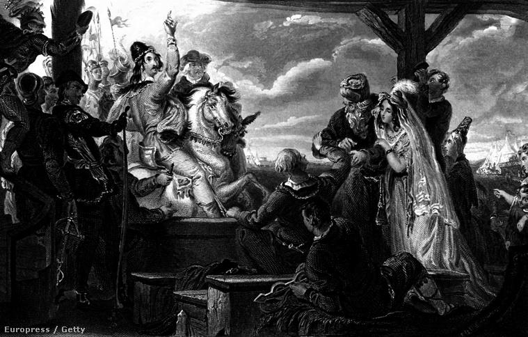 I. János és angol nemesek egy korabeli festmény illusztrációján.