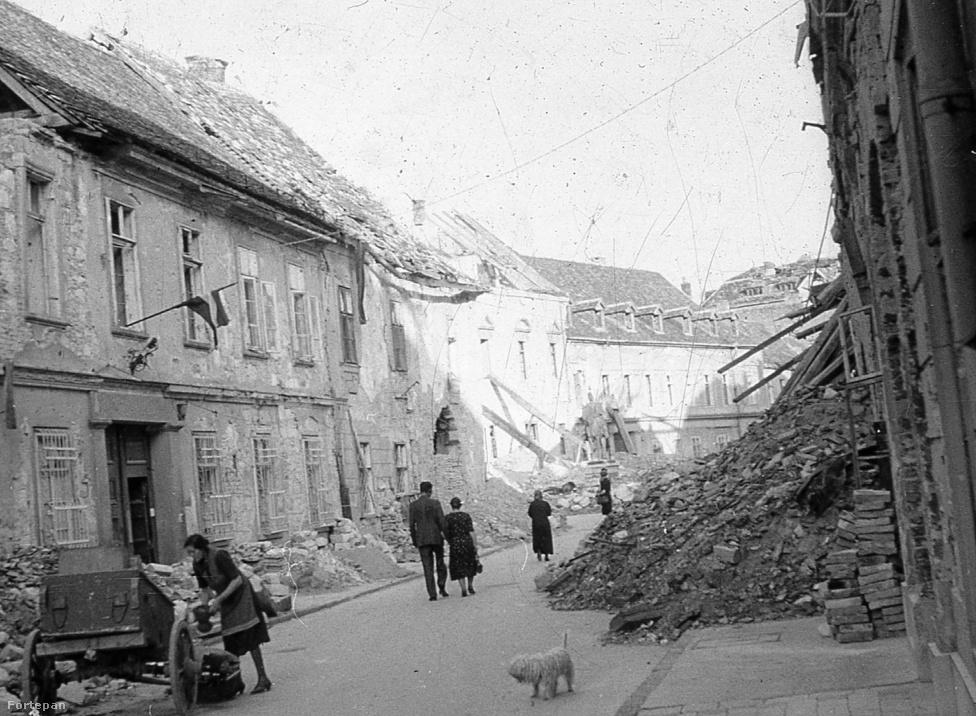 Az 1944. december 25. és 1945. február 13. között lezajlott budapesti harcok során a Várnegyed valóságos romhalmazzá vált, mivel a magyar hadsereggel, valamint az őket támogató nyilasokkal együtt itt bekerített 8. és 22. SS lovasezred nem tudott kitörni az Ördög-árok felé a hegyek felé. A fenti kép 1945-ben készült az Úri utcában, a Nőegylet utca felől a Szentháromság utca felé nézve, ahol az óvóhelyekről felmerészkedő helyi lakosok között egy gazdátlan puli is bóklászott.