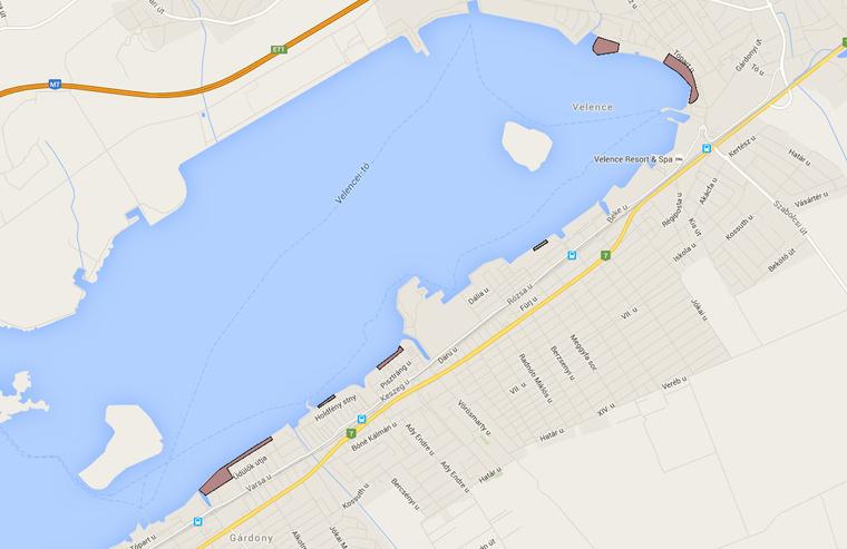 A velenceito.info térképe a lezárt szakaszokró