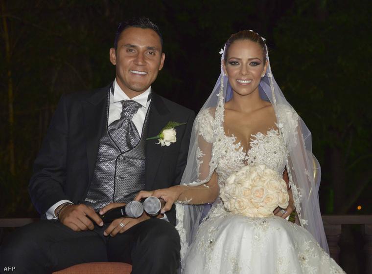 Keylor Navas és menyasszonya, Andrea Salas
