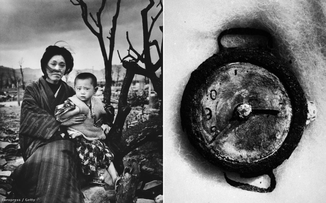 Balra: a Life magazin fotósának ikonikus portréja egy családról, akik túlélték a támadást; Jobbra: egy óra, ami a robbanás pillanatában állt meg.