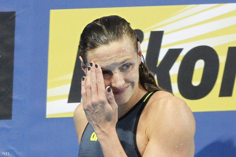 Hosszú Katinka a 200 méteres pillangóúszás elődöntője után a kazanyi vizes világbajnokságon 2015. augusztus 5-én.