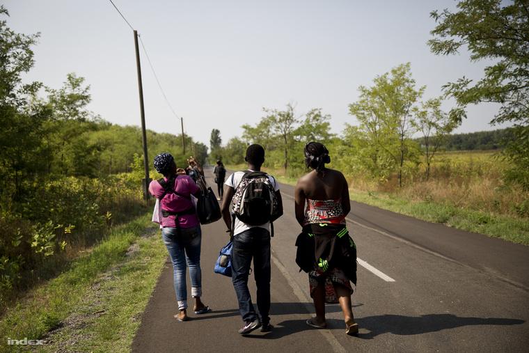 Menekültek az ásotthalmi átkelő közelében
