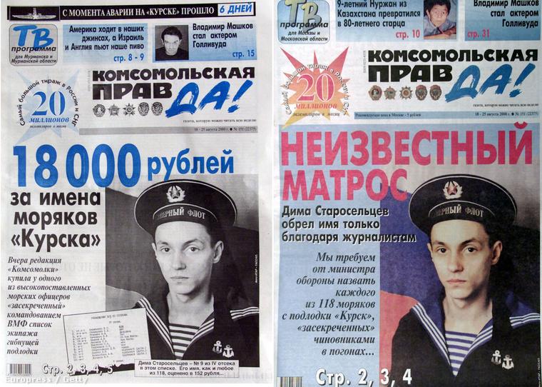 A Komszomolszkaja Pravda című újság 18 ezer rubelt fizetett a hajón szolgálók névsoráért.