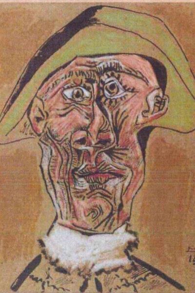 Pablo Picasso: Arlequin-fej (részlet)