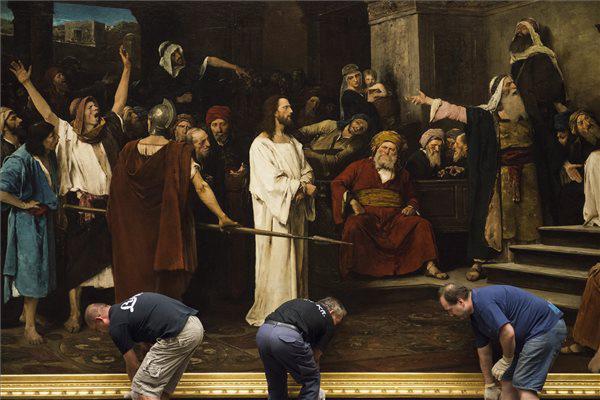 Leemelik a falról Munkácsy Mihály Krisztus Pilátus előtt c. festményét
