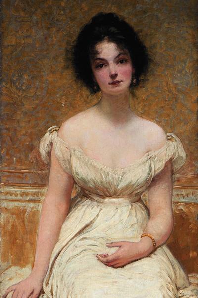 Lotz Károly: Kornélia fehér ruhában (1901) részlet