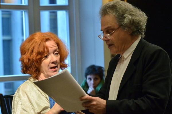 Takács Kati és Forgách András a Szorul a hurok c. előadás próbáján