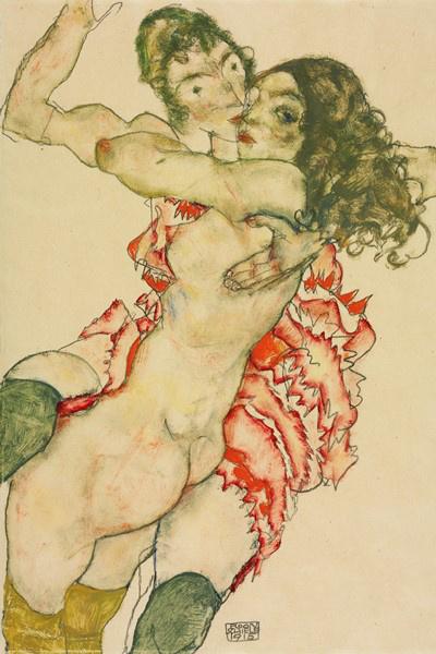 Egon Schiele: Ölelkező lányok (1915)