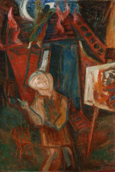 Ámos Imre: A festő (Égő ház előtt) részlet