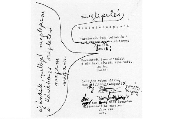 József Attila Születésnapomra című versének kézirata