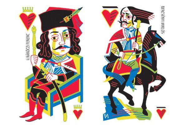Felvidéki András: II. Rákóczi Ferenc (piros király) és Bercsényi Miklós (piros felső) a Rákóczi kártyából