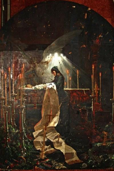Zichy Mihály felfeszített festménye tisztítás közben