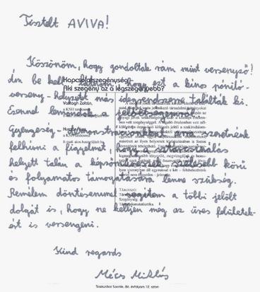 Mécs Miklós levele