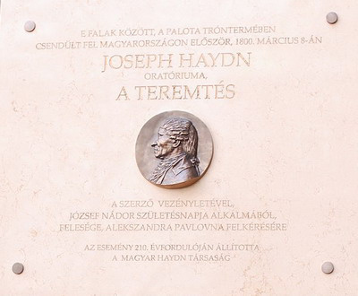 Haydn-emléktábla, Gerő Katalin alkotása a Nemzeti Galéria C épületének falán