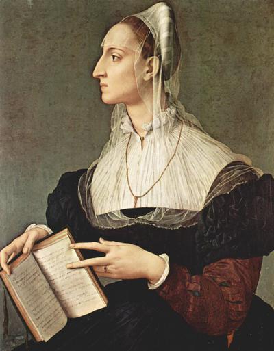 Agnolo Bronzino: Laura Battiferri portréja (a Canzoniere 64. és 240. szonettjénél nyitott, kézzel írt Petrarca-kötettel) – Firenze, Palazzo Vecchio, 1560 körül